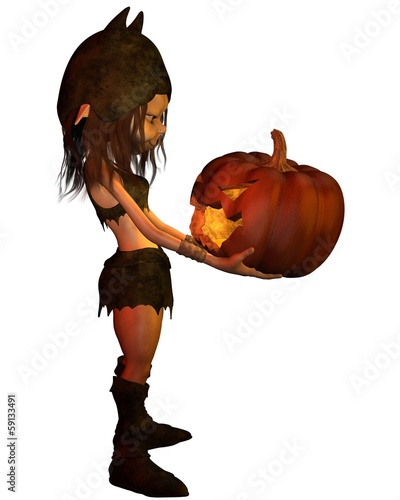 Goblin Girl with Pumpkin Lantern