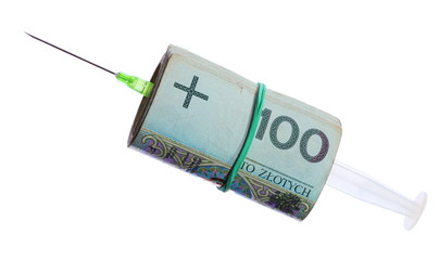 cost of health care: syringe roll of polish money