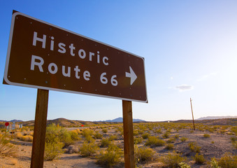 Historic route 66 road sing in Mohave Desert of California