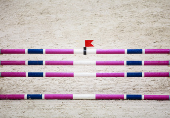 Obstacle for jumping horses. Riding competition.