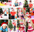 Collage of children celebrating Christmas at home
