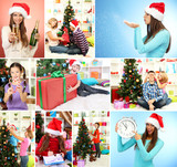 Collage of people celebrating Christmas
