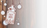 xmas coupon with Christmas sale 30 percent off label