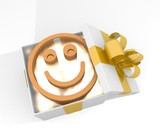 christmas gift box with smile icon
