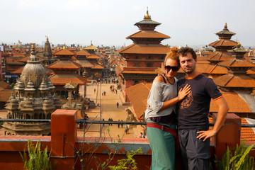 Tourist couple at Patan Square, Kathmandu, Nepal