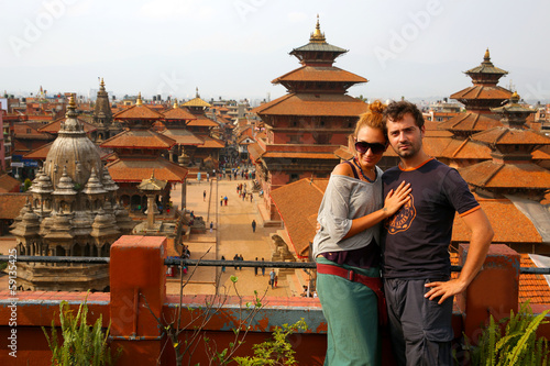 Tourist couple at Patan Square, Kathmandu, Nepal