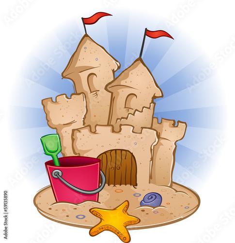 Sandcastle with toys on the beach cartoon