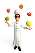 Chef juggling vegetable