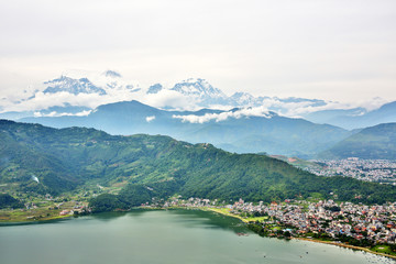 View of Pokhara lake with Annapurna in background, Nepal