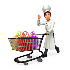 young smart chef with shopping trolley