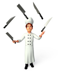 Chef with knife juggling