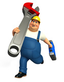 Plumber running which his wrench & tool box