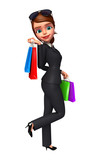 Young business woman walking with his shopping bags