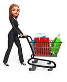 Young business woman walking with his shopping trolley & bags