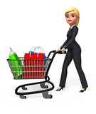 Young business woman walk  with his shopping trolley & bags