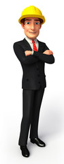 young business man standing with folding hand