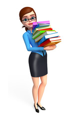 office girl with books pile