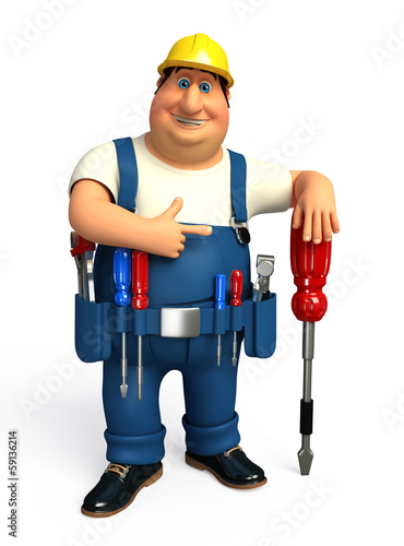 Plumber running which his screw driver