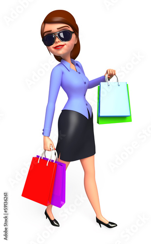 Office girl with a shopping bags