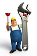 plumber with toilet plunger & wrench
