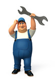 Plumber  with big wrench