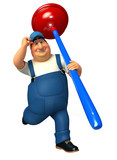 plumber running with big toilet plunger