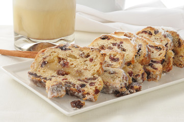 Raisin almond stollen with egg nog