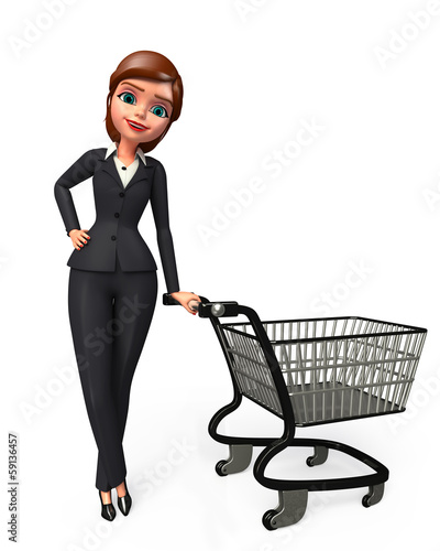 Young business woman with his shopping  trolley