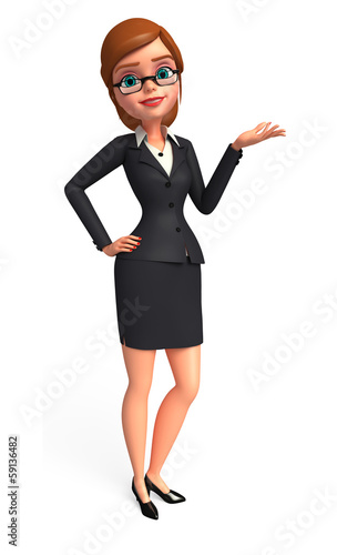 Young Business woman with presentation