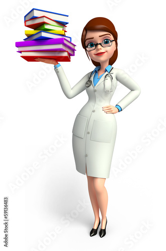 Lady smart Doctor with books pile