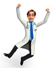 Doctor with jumping & success