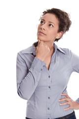 Business Frau isoliert blickt nachdenklich nach oben