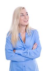 Freundliche junge Frau lachend in blauer Bluse