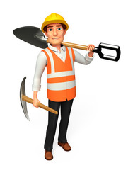 worker man with Spade & hand forks