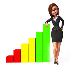 young business woman standing with graph