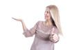 Frau isoliert mit Hand und Daumen - Verkauf Sonderangebot