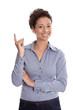 Business Frau in Bluse blau und Zeigefinger isoliert