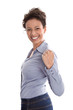 Erfolgreiche junge Business Frau lachend - Power