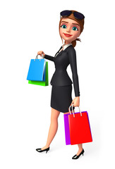 Young Business woman with shopping bag