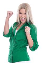 Begeisterte motivierte junge blonde Frau isoliert freut sich