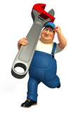 Plumber running with wrench
