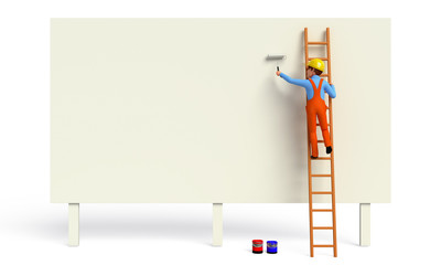 worker  with painting brush