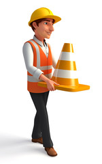 Worker with traffic cones