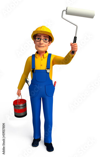 Plumber  with painting brush & color paint