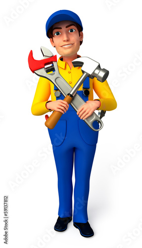 Plumber which his hammer & wrench