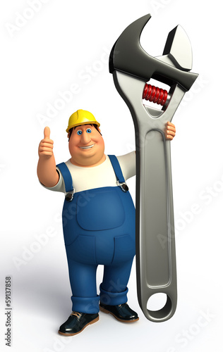 Plumber thumb up with a wrench
