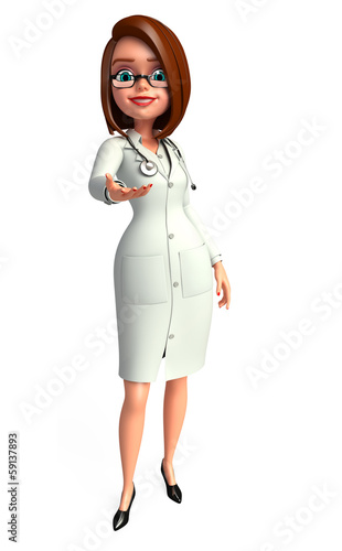 Lady smart Doctor with hand shack