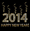 Happy new year 2014 in gold with ribbons vector design