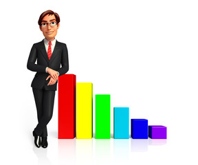 young business man standing on a graph