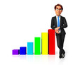 young business man standing with graph